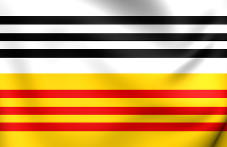 op: Flag of Loon op Zand, Netherlands. Close Up. Stock Photo