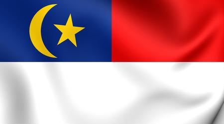 マラッカ、マレーシアの旗。クローズ アップ。