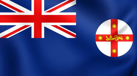wales: Flag of New South Wales, Australia. Close Up.