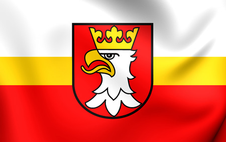 county: Flag of Krakow County, Poland. Close Up. Stock Photo
