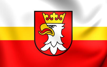 krakow: Flag of Krakow County, Poland. Close Up. Stock Photo