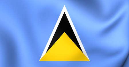 saint: Flag of Saint Lucia. Close Up. Stock Photo