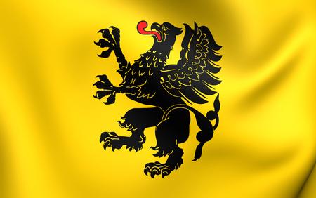Flag of Pomeranian Voivodeship, Poland. Close Up. photo