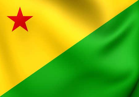 acre: Flag of Acre, Brazil. Close Up.