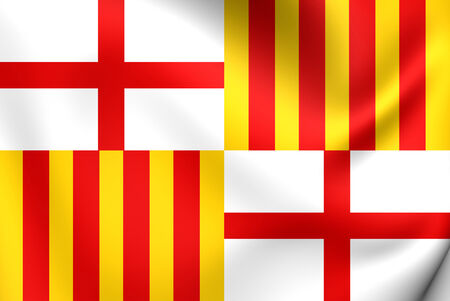 catalonia: Flag of Barcelona, Spain. Close Up.