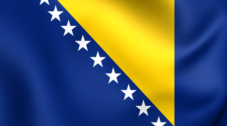 bosnia: Flag of Bosnia and Herzegovina. Close Up.