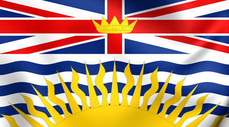 columbia: Flag of British Columbia, Canada. Close Up.
