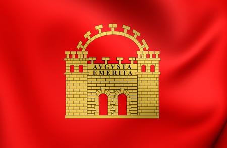 merida: Flag of Merida, Spain. Close Up.