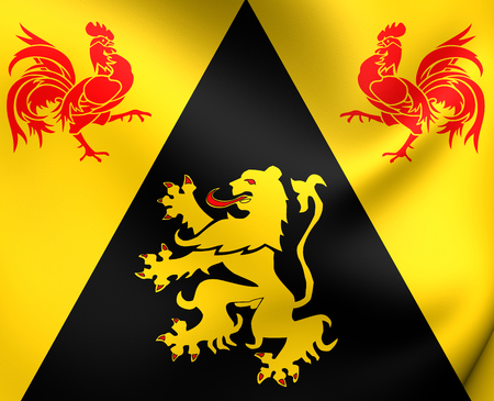 wallonie: Flag of Walloon Brabant, Belgium. Close Up.