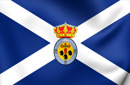 santa cruz de tenerife: Santa Cruz de Tenerife Province Flag, Spain. Close Up. Stock Photo