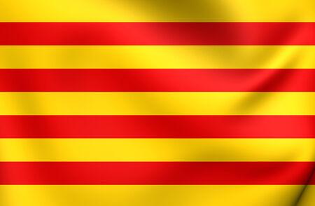 Flag of Catalonia. Close Up.