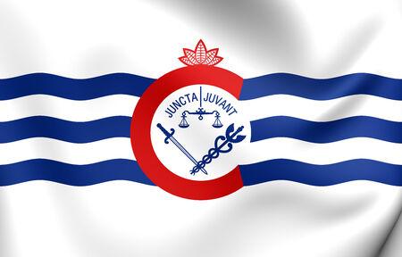 hamilton: Flag of Cincinnati, USA. Close Up.
