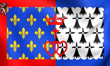 pays: Flag of Pays de la Loire, France. Close Up.