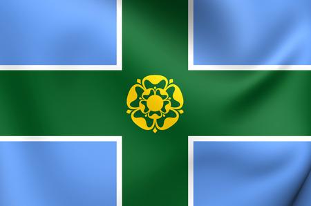 derbyshire: Flag of Derbyshire, England. Close Up.