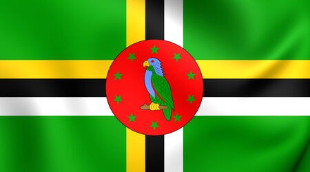 dominica: Flag of Dominica. Close Up.