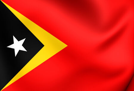 east: Flag of East Timor. Close Up.