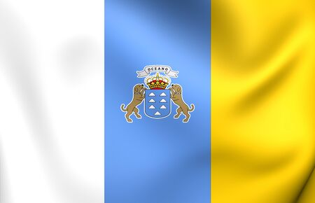 Flag of Canary Islands. Close Up.