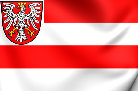 frankfurt: Flag of Frankfurt am Main, Germany. Close Up. Stock Photo