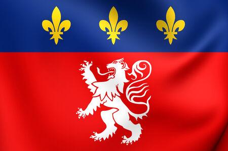 3d lion: Flag of Lyon, France. Close Up.