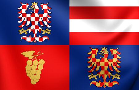 Flag of South Moravian Region, Czech Republic. Close Up. photo