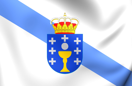 Flag of Galicia, Spain. Close Up.