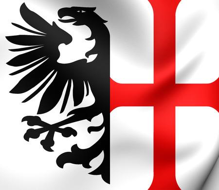 roman empire: Free Imperial City of Memmingen Flag, Holy Roman Empire. Close Up.