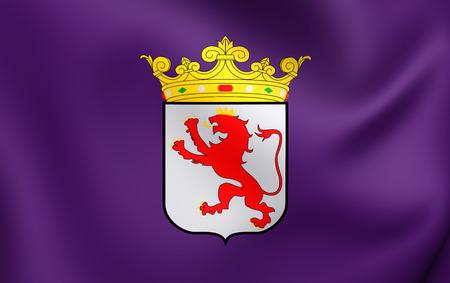 leon: Flag of Leon Province, Spain. Close Up.