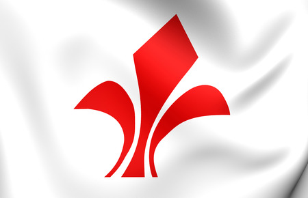 lille: Flag of Lille, France. Close Up. Stock Photo