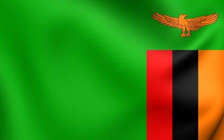 zambia: Flag of Zambia. Close Up. Stock Photo