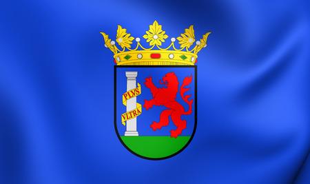badajoz: Flag of Badajoz Province, Spain. Close Up.