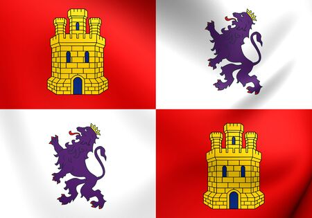 leon: Flag of Castile and Leon, Spain. Close Up.