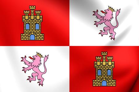 castilla: Flag of Castile and Leon, Spain. Close Up.