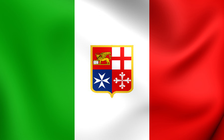 ensign: Civil Ensign of Italy. Close Up.