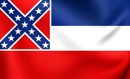 mississippi: Flag of Mississippi, USA. Close Up.