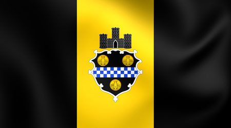 allegheny: Flag of Pittsburgh, USA. Close Up.