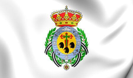 santa cruz de tenerife: Flag of Santa Cruz de Tenerife City, Spain. Close Up.