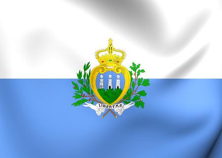 san: Flag of San Marino. Close Up.
