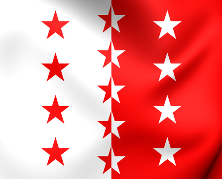 wallis: Flag of Valais, Switzerland. Close Up. Stock Photo