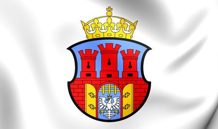 krakow: Flag of Krakow, Poland. Close Up.