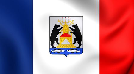 oblast: Flag of Novgorod Oblast, Russia. Close Up.