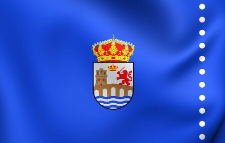 orense: Flag of Ourense City, Spain. Close Up.