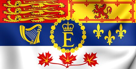 canadian state flag: Royal Standard of Canada. Close Up.