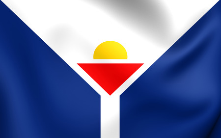 collectivity: Flag of Saint Martin. Close Up. Stock Photo
