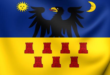 former: Flag of Transylvania (1659-1867). Close Up. Stock Photo