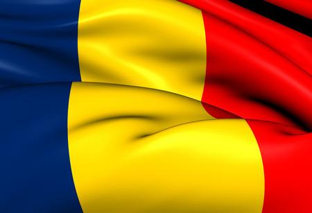 chad: Flag of Chad. Close Up.