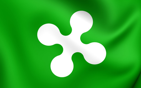 lombardy: Flag of Lombardy, Italy. Close Up. Stock Photo