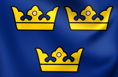 sweden: Three Crowns. National Emblem of Sweden. Stock Photo