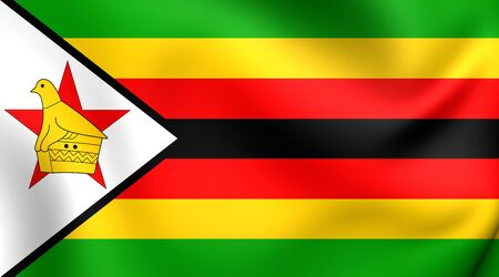zimbabwe: Bandera de Zimbabwe. De cerca.