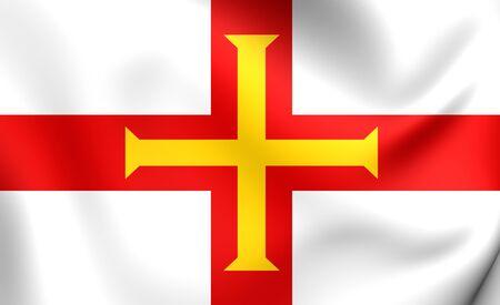 guernsey: Flag of Guernsey. Close Up.