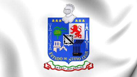monterrey: Flag of Nuevo Leon, Mexico. Close Up.